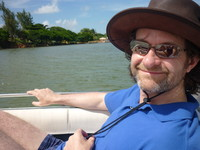 Mark in a boat off the coast of Mauritius