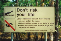 A sign warning of crocodiles