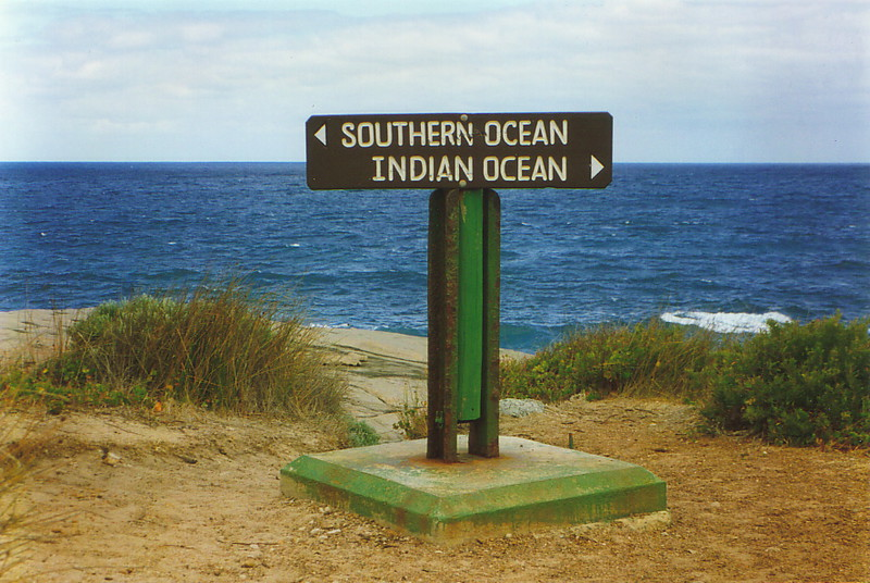 A sign at Cape Leeuwin pointing out the Southern and Indian Oceans