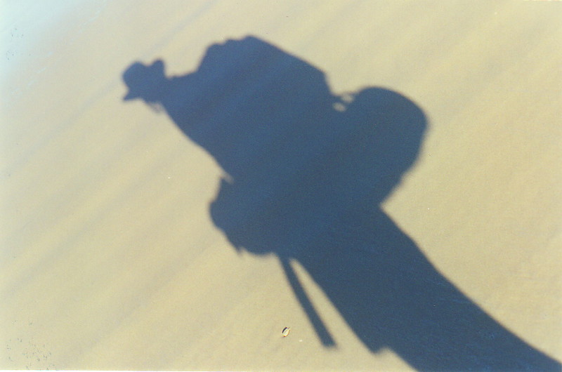 Mark's shadow on Seventy-Five Mile Beach