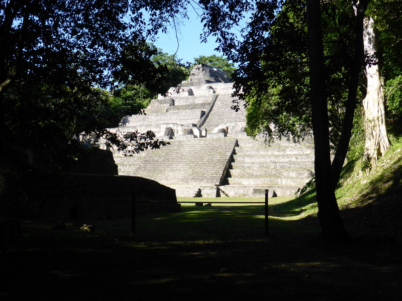 The main pyramid peeking through the trees