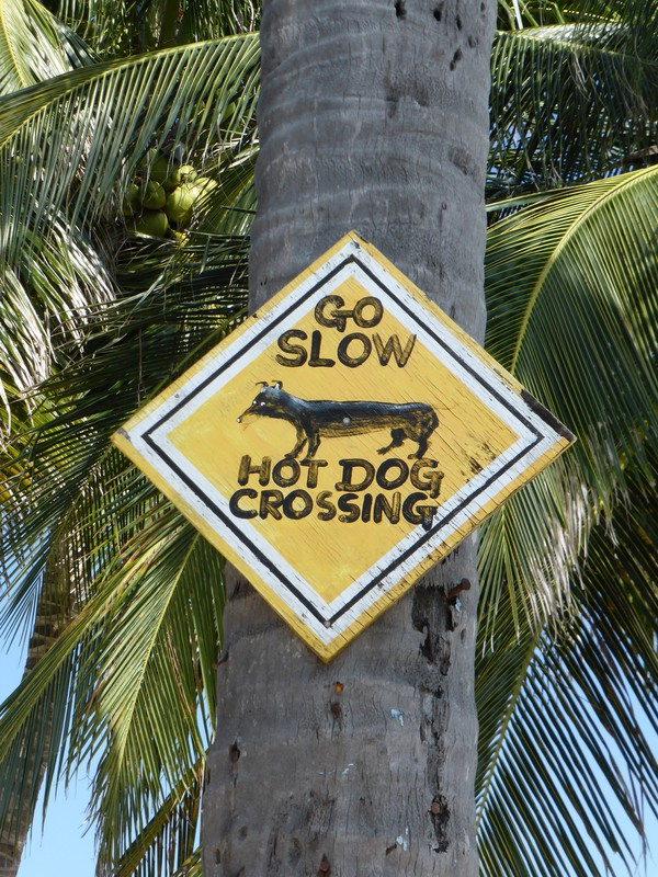 A 'go slow' sign in Caye Caulker
