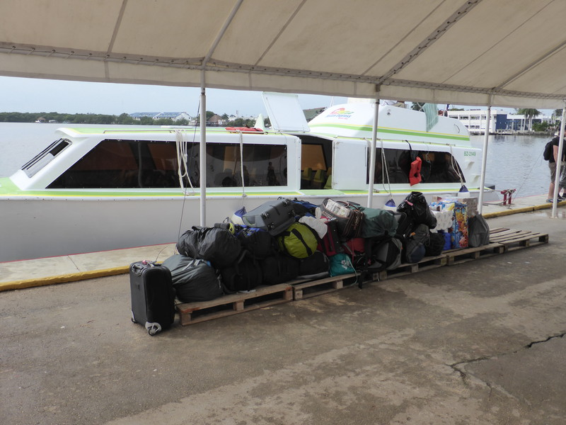 Our luggage lined up for the sniffer dog on the pier in Chetumal