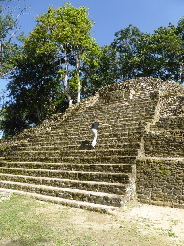 Peta climbing the pyramid at Cahal Pech