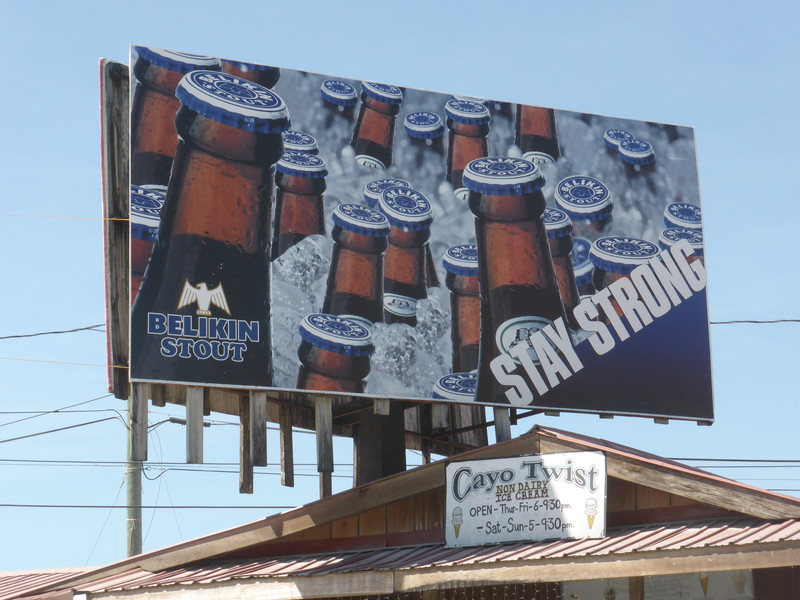 A Belikin Stout advertising sign