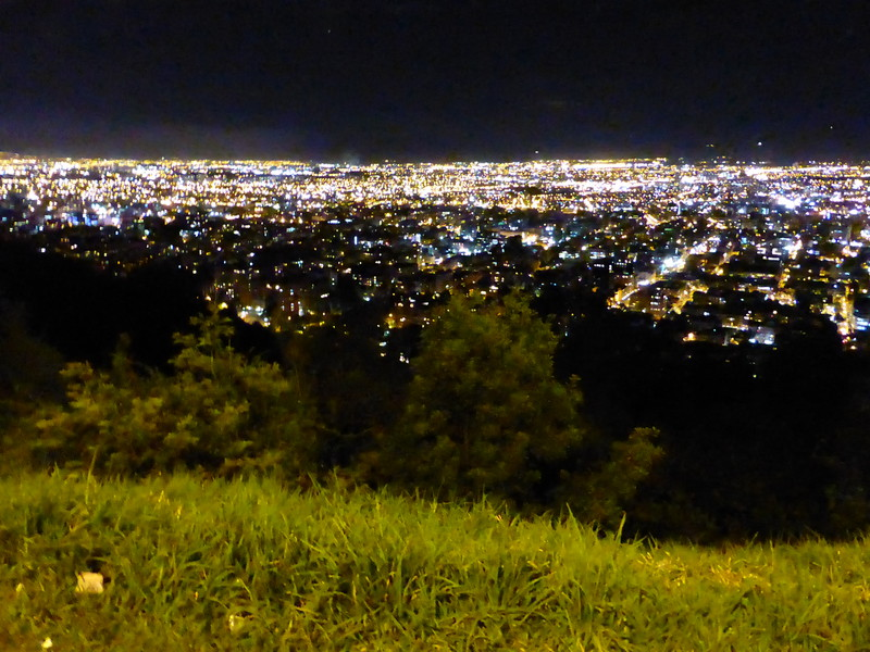 The night view over the city from the road to La Calera