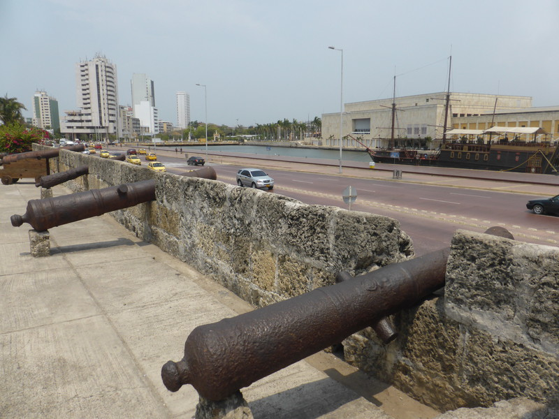 The city wall looking east from Plaza de la Aduana