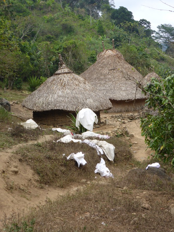 White cotton clothes drying in the Kogi village of Mutanzhi