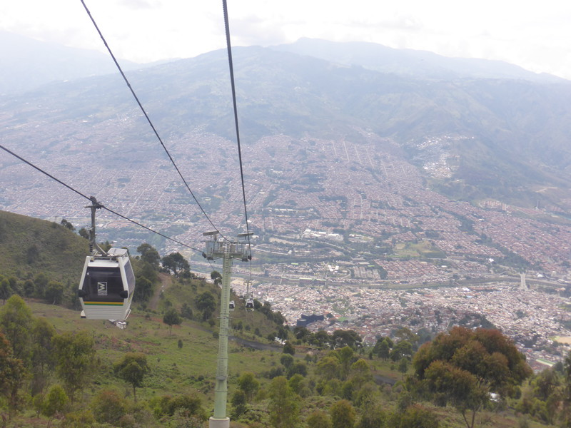 Heading back down into Medellín along cable car L