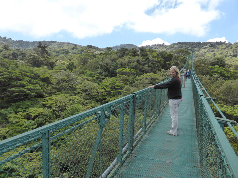 Peta on the canopy walkway at Selvatura Park
