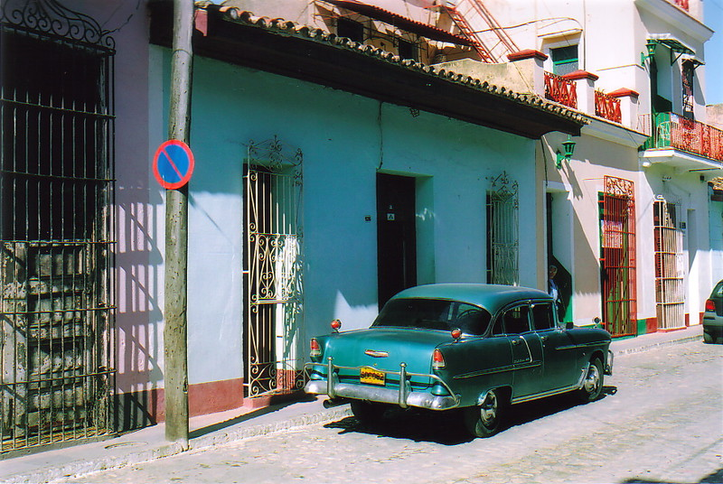 A car outside a casa particular in Trinidad