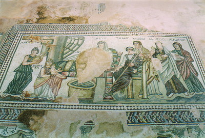 A mosaic of the first bathing of Theseus