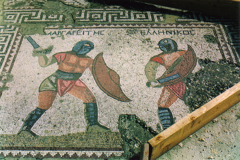 A mosaic depicting two gladiators