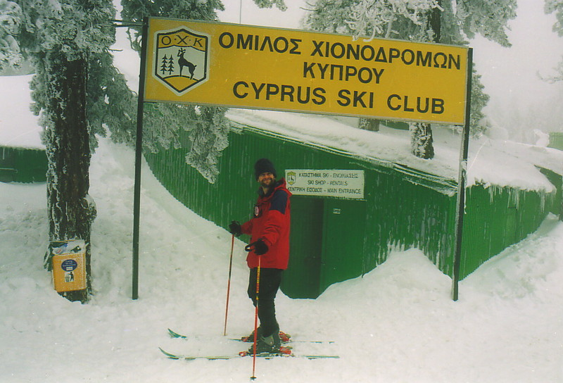 Mark outside the Cyprus Ski Club hut on Mt Olympos