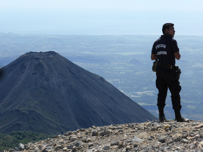 Our police guide on top of Santa Ana, with Izalco in the background