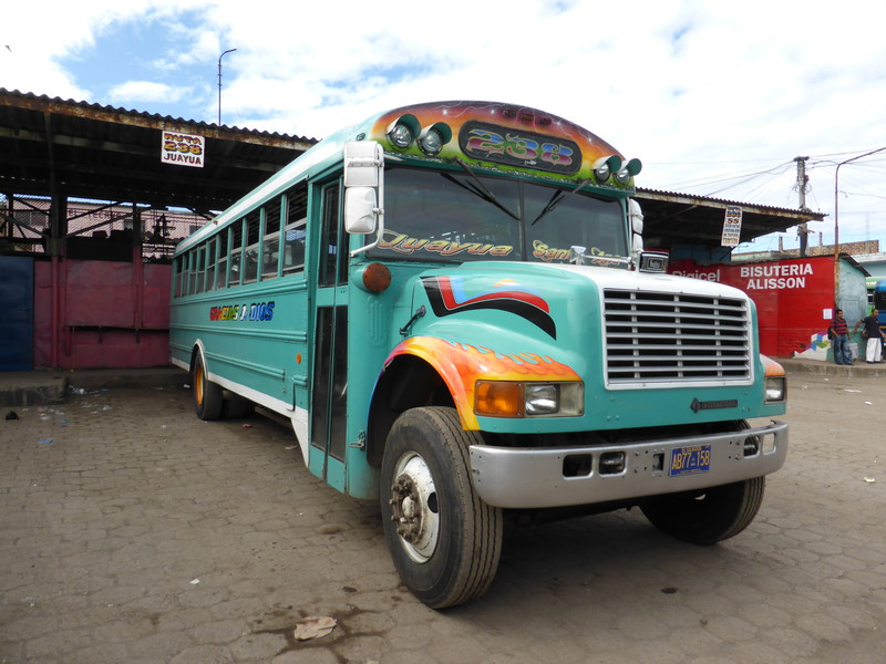 The first of four chicken buses we took on the Ruta de las Flores