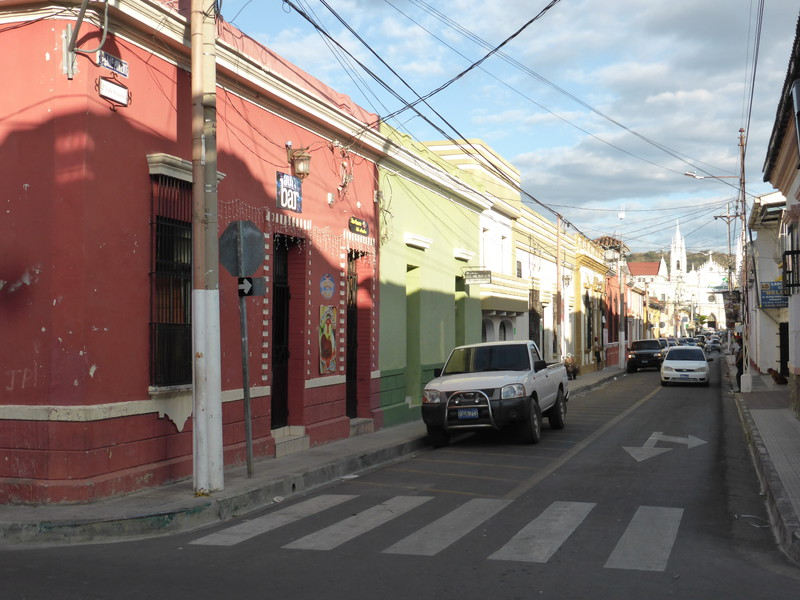 Pretty coloured buildings in the backstreets of Santa Ana