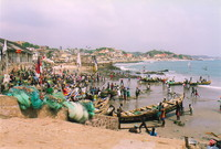 The steps from Cape Coast Castle onto the beach