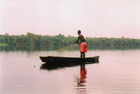 A man fishing on the Amansuri Lagoon
