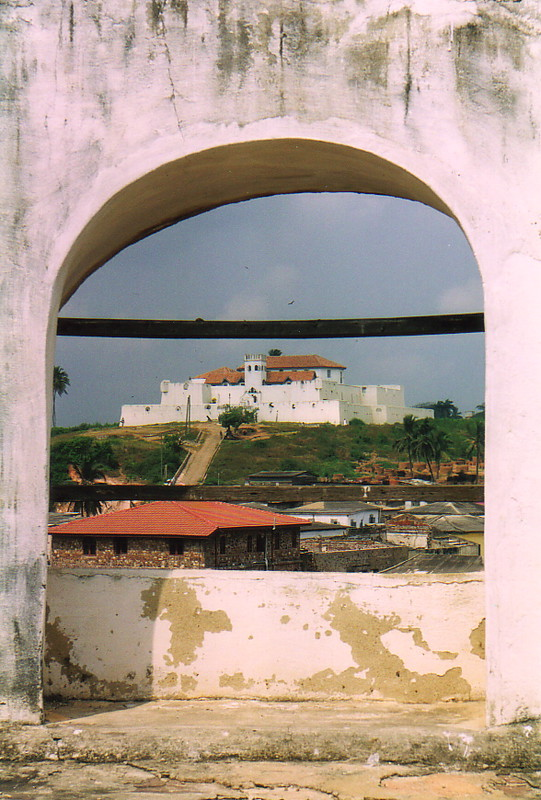 Fort St Jago seen through an arch in St George's Castle