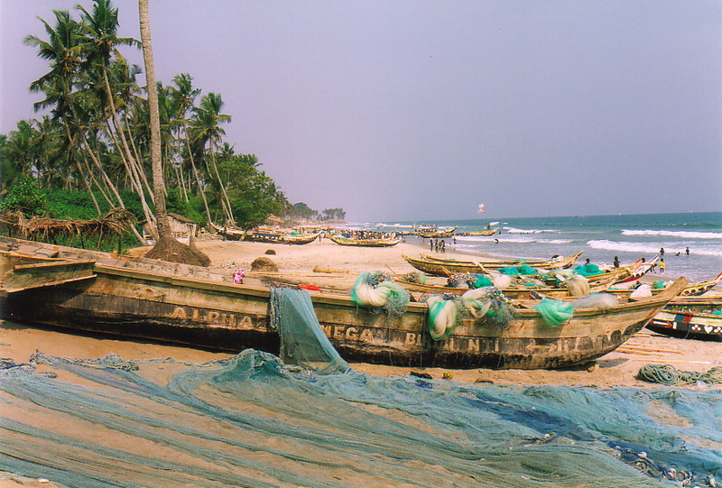 Fishing boats on the beach at Kokrobite