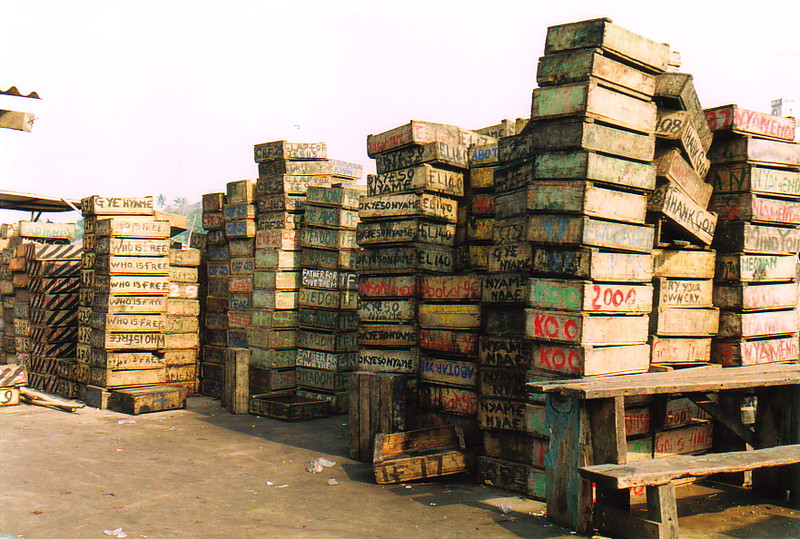 Wooden boxes in Elmina fish market