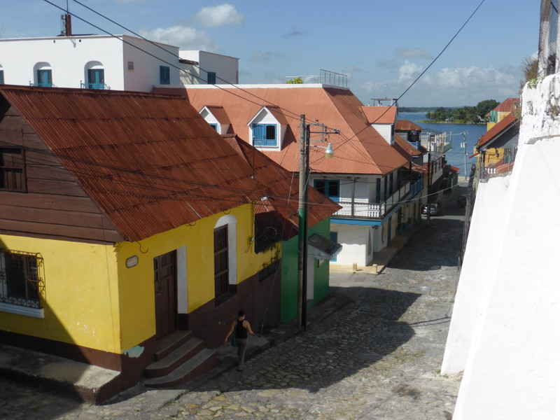 The pretty cobbled streets of Flores are very colourful