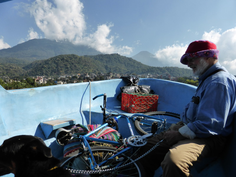 On the launch to Santiago Atitlán, where there's room for everyone, including an old man, his dogs and his bicycle