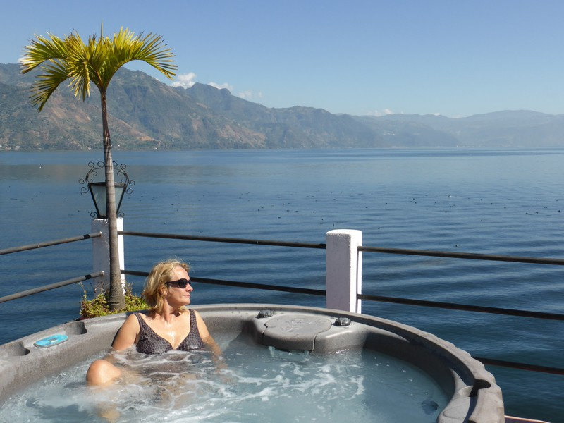 Peta enjoying the lakeside hot tub at Hotel Mikaso