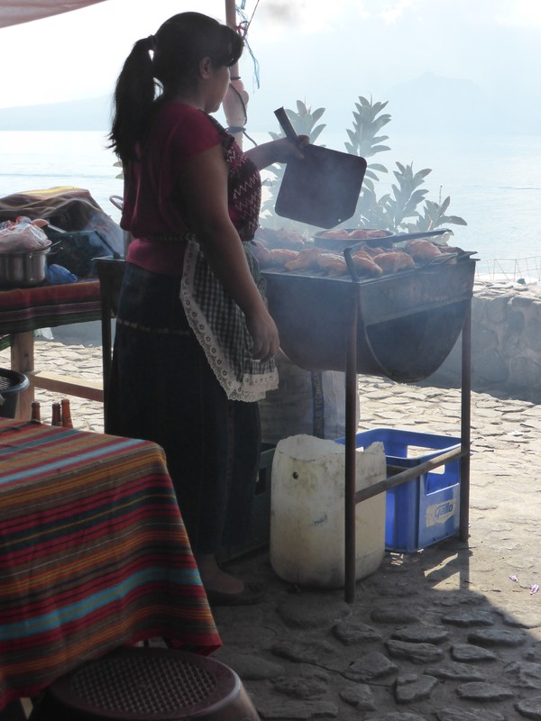 A street food stall in Panajachel