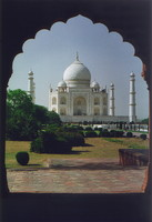 The Taj Mahal, viewed from a nearby building