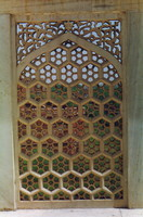 A lattice window in Agra Fort