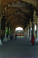 A series of symmetrical arches at Agra Fort