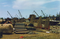 Ship parts strewn throughout the Alang shipyards