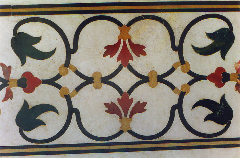 An inlaid decoration at the Taj Mahal