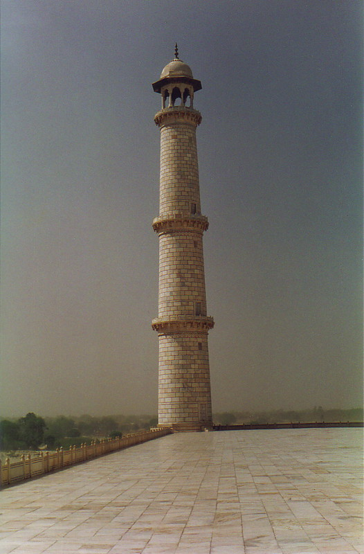 One of the four towers surrounding the Taj