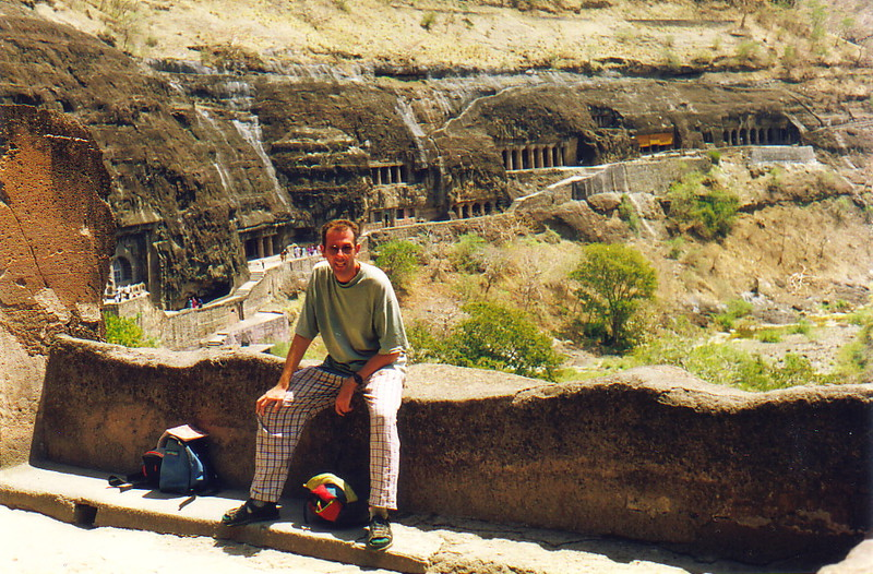 Ian in front of the caves at Ajanta