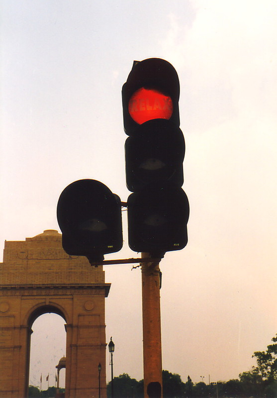 A traffic light in Delhi with 'Relax' written on the red light