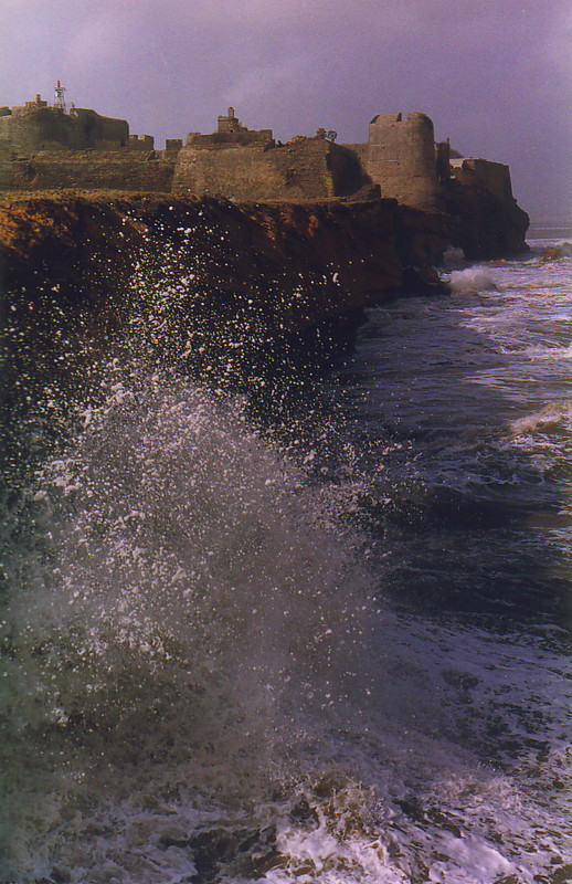 The Arabian Sea battering the old fortress at Diu