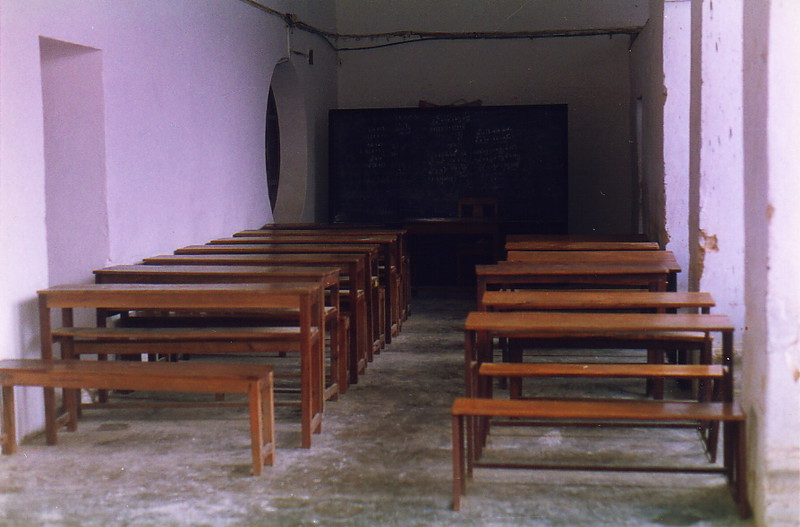 School benches and a blackboard at St Paul's