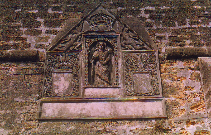 A stone carving in Diu Fort