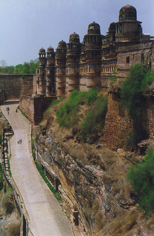 The Man Singh Palace on top of Gwalior's rock fortress