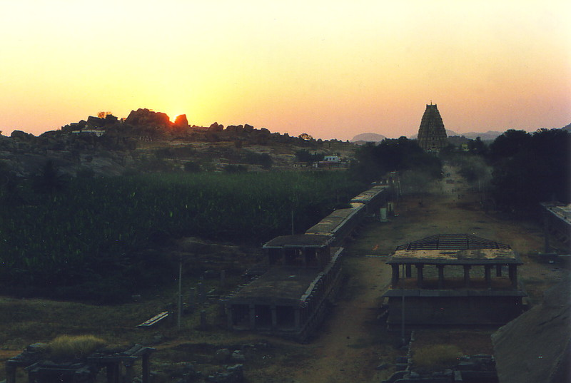 Sunset over the main drag in Hampi