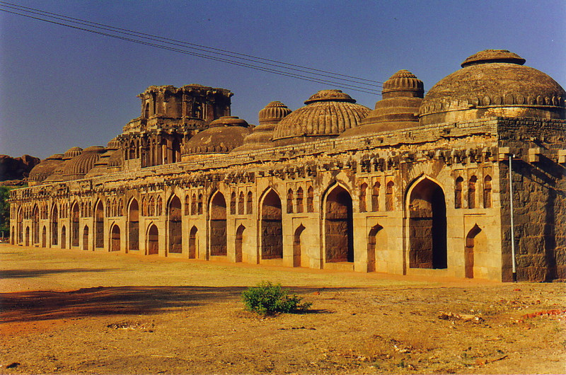 The eleven elephant stables in ancient Hampi