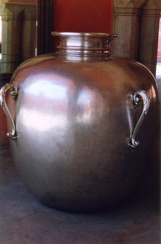 A huge silver container in Jaipur City Palace
