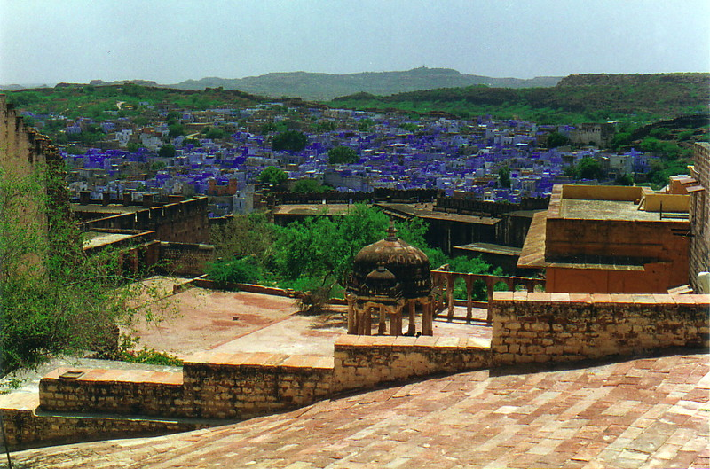 The blue buildings of Jodhpur from the fort