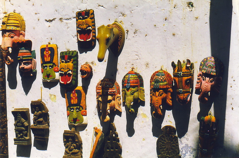 Masks of Ganesh and Kathkali dancers