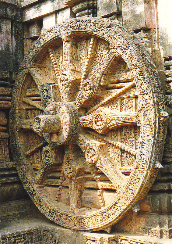 One of the wheels of the chariot-shaped temple
