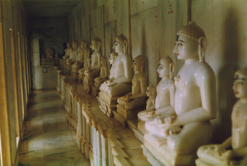 A row of tirthankar statues
