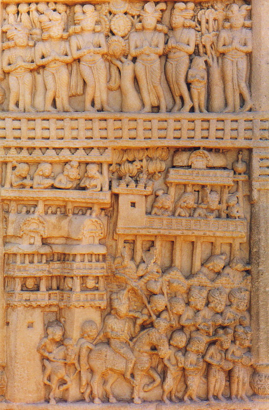Detailed carvings on the gates of Sanchi